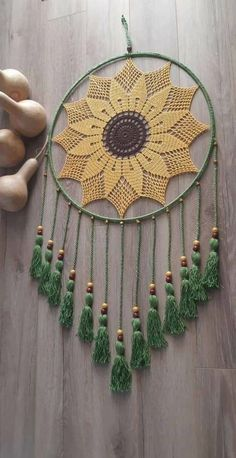 Crochet Wall Art, Crochet Wall Hangings, Crochet Home, Diy Crochet Patterns, Macrame Patterns, Crochet Projects, Crochet Dreamcatcher Pattern, Crochet Mandala Pattern, Dream Catcher Patterns