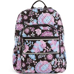 Vera Bradley Campus Backpack in Alpine Floral ($109) ❤ liked on Polyvore featuring bags, backpacks, alpine floral, detachable backpack, flower print backpack, vera bradley bags, zipper bag and vera bradley