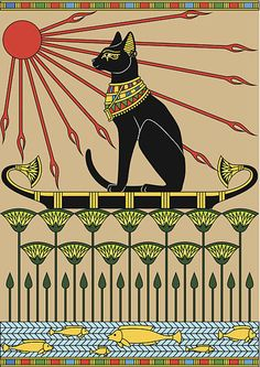 Ideas Cats Art Egyptian For 2019 Egyptian Drawings, Egyptian Cats, Egyptian Symbols, Egyptian Mythology, Egyptian Goddess, Ancient Egypt Art, Ancient Aliens, Ancient Artifacts, Ancient Greece