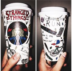 Starbucks cup of stranger things that i made i hope you like it. Stranger Things Eleven Mike Dustin Lucas Design Fan art fanart <<< forget the holiday cups, I want this with my next coffee