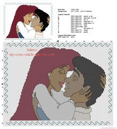 Ariel and Eric kiss cross stitch pattern from Disney The Little Mermaid