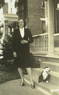 vintage photo of woman and boston terrier in matching styles