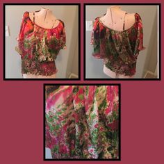 Gorgeous Twenty One Flutter Sleeve Top Colorful Twenty One flutter sleeve top. Colors are: Orange, pink, white, green & black. In like new condition and absolutely beautiful when wearing. Twenty one Tops Blouses