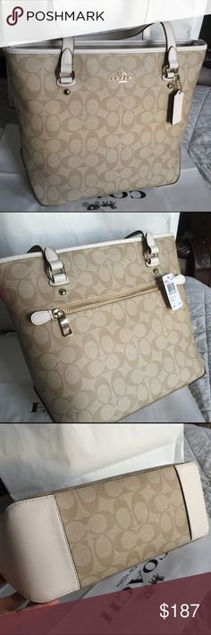 🎄Coach Bag🎄 100% Authentic Coach Tote Bag, brand new with tag!😍😍😍color Khaki/Chalk🎄🎄🎄 Coach Bags Totes
