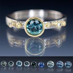 Engagement Ring Fair Trade Blue / Green Sapphire & Diamond Gold Accent | Nodeform