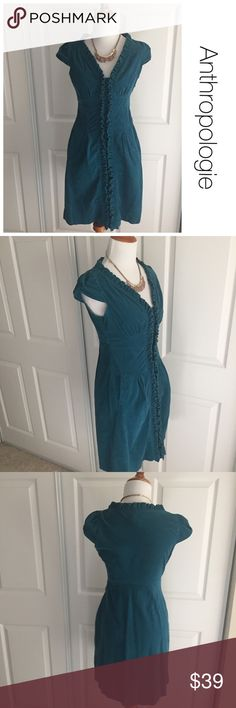 Anthropologie Maeve teal corduroy ruffle dress 0 ♦️Excellent condition. No holes, stains or holes   ♦️Materials- 98 cotton/ 2%spandex♦️Measurements:                               ♦️Laying flat armpit to armpit: approximately inches    ♦️Laying flat from the back of the neck to the bottom of the front hem is approximately inches Anthropologie Dresses Mini