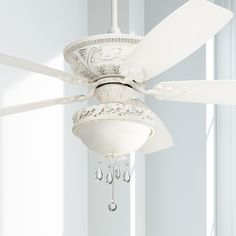 Buy Montego Vintage Chic Ceiling Fan with Light LED Dimmable Rubbed White Marbleized Glass Bowl Crystal Beaded for Living Room Kitchen Bedroom Family Dining - Casa Vieja Slanted Ceiling, Led Ceiling, Vintage Ceiling Fans, Crystal Beads, Crystals, Glass Crystal, Ceiling Fan Makeover, Led Light Kits, Light Led