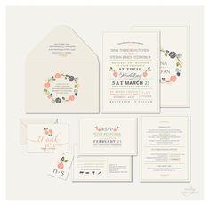 VINTAGE RUSTIC WEDDING Invitations - Monogram Floral Wreath -  Printable Designs. $45.00, via Etsy.