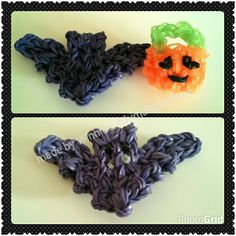 Rainbow loom halloween charms 2D bat and 3D jack o lantern bucket. The bucket is made with glow in the dark bands (not RL :P). I added the fangs and eyes to the bat afterwards. The bat tutorial is by MesPetitsBonheurs and the bucket is by Creative World 360 Chinese tutorial.