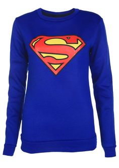 Superman Print Sweatshirt - Womens Clothing Sale, Womens Fashion, Cheap Clothes Online | Miss Rebel