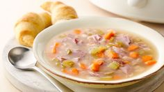 Enjoy this wonderful slow-cooker ham bone soup loaded with beans, vegetables and ham.