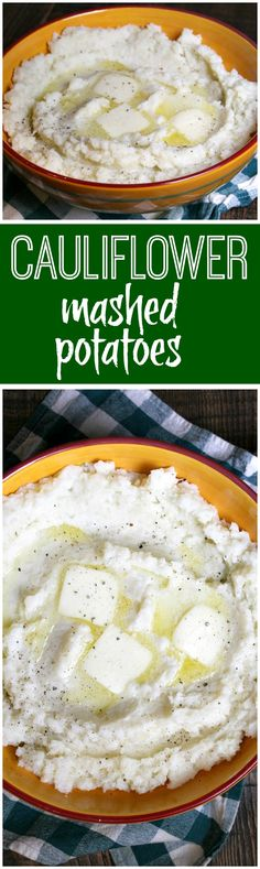 Easy Cauliflower Mashed Potatoes recipe: mix of cauliflower and white potato to create a sub for classic mashed potatoes- delicious! - recipe from RecipeGirl.com