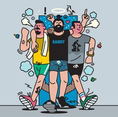 A nice series of illustrations by Rami Niemi depicting 'the people you will meet at the gym' for Mr Porter. People Illustration, Line Illustration, Character Illustration, Graphic Design Illustration, Digital Illustration, Ligne Claire, Illustrations And Posters, Design Reference, Cover Art
