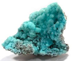 blue gemstones and minerals | Bright Blue Gibbsite from Baoshan, Yunnan Province, China