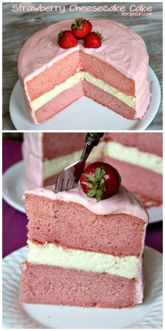 Strawberry Cheesecake Cake: creamy cheesecake sandwiched between two layers of strawberry cake... with a strawberry-cream cheese frosting.