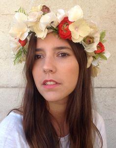 Corona de hortensias y ranúnculos en floristería Baladre de Colón