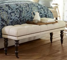 Raleigh Upholstered King Bench Tufted Turned Mahogany Leg with Pewter Nailhead, Linen Oatmeal