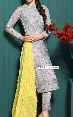 Silver Chiffon Suit | Buy Asim Jofa Pakistani Clothes and Dresses in USA