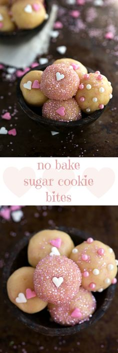 Super simple sugar cookie bites that require no baking. These cute bites make the perfect Valentine's gift!!