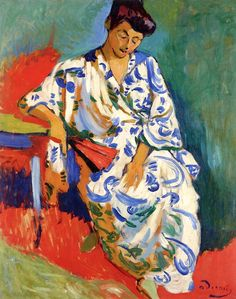 'Madame Matisse in a Kimono', 1905 -  André Derain. Gorgeous Fauve colors and form.