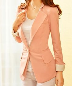 $19.45 Fashionable Style Lapel Neck Slimming One Button Color Block Blazer For Women