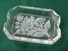 Glass Astray Individual Frosted Rose Design by EauPleineVintage, $13.00