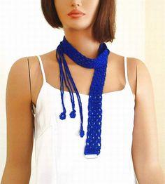 Crochet scarf  belt multi purposed in royal par KnitterPrincess, $18.00