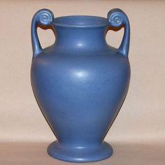 Large Vintage Matt Blue Art Deco Pottery Vase 1930 Monmouth Pfaltzgraff Stangl