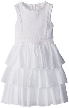 df7c1c06dca kc parker Big Girls  Sleeveless Knit Ponte and Doddy Ruffle Tiered Dress