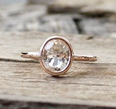 PERFECTION!  1.70 Cts. Oval Solitaire White Sapphire in 14K Rose by Studio1040, $680.00