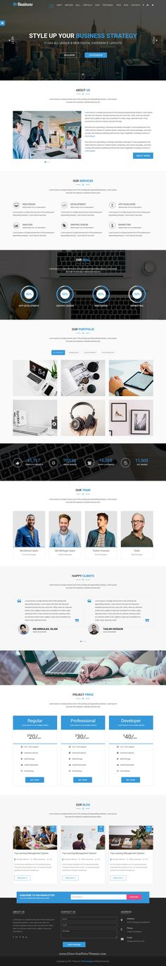M-Business is clean and modern design responsive #HTML5 template for #onepage creative #corporate business website to live preview & download click on Visit