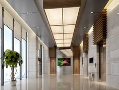 Office building lobby 3D Model .max - interesting treatment above elevators/doors #bestdesignprojects #hotellobbyinteriordesignprojects