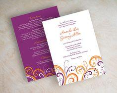 Orange and purple wedding invitation, contemporary wedding invitation, simple…