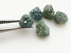 Large Hole Blue Rough Diamond Beads 1mm Drilled by gemsforjewels