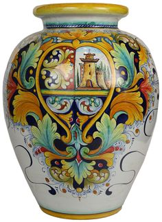 Italian Ceramic Floor Vase - Medieval Castle style - 55 cm high x 42 cm diameter (20 in high x 17 in diameter)