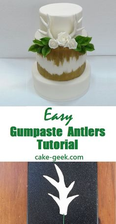 Quick and easy gumpaste antlers tutorial to help you make a beautiful woodland wedding cake or enchanted forest cake Wedding Cake Designs, Wedding Cake Toppers, Wedding Cakes, Enchanted Forest Cake, Christmas Cake Decorations, Christmas Cakes, Cake Decorating Tutorials, Decorating Cakes, Reindeer Cakes