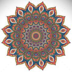 Mandala by ViSnezh Vector Mandala. Round ornament in ethnic style. Mandala Doodle, Mandala Art Lesson, Mandala Artwork, Mandala Drawing, Mandala Painting, Buda Wallpaper, Elefante Hindu, Circle Art, Turkish Art