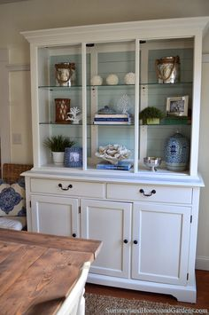 Annie Sloan Chalk painted hutch for the dining room with duck egg ...