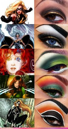 [ Halloween Makeup Ideas : Illustration Description Super Heroine Makeup: being able to apply make-up that well is definitely a super power in Heroine Makeup, Fx Makeup, Beauty Makeup, Comic Makeup, Diy Beauty, Maquillage Halloween Clown, Halloween Face Makeup, Halloween Eyes, Crazy Makeup