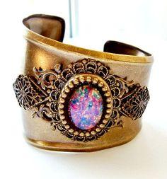 Oxidized Brass Cuff Bracelet