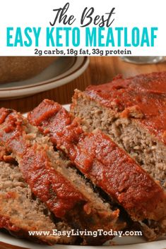 Easy Keto Meatloaf Bursting with Flavor! This super easy keto meatloaf recipe is not only low carb, but also delicious! The pork rinds really up the flavor. via Keto Meatloaf Bursting with Flavor! This super easy keto meatloaf recipe is no Low Carb Meatloaf, No Carb Meatloaf Recipe, Gluten Free Meatloaf, Healthy Meatloaf Recipes, Meatloaf Sauce, Low Carb Hamburger Recipes, Ground Beef Keto Recipes, Meat Loaf Recipe Easy, Healthy Recipes