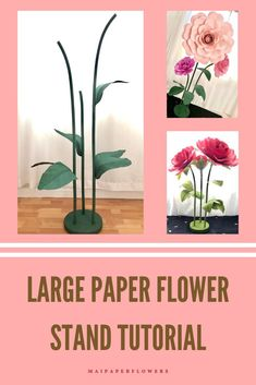 Your paper flowers craft needs free standing stems? Check out this giant paper flower stem set tutorial! It is awesome to make your big paper flowers standing free! #paperflowerscraft #giantfreestandingflowers #freestandingflowersdiy #freestandingpaperflowersdiy #giantflowerstem #giantflowerstand #freestandingflowers #bigpaperflowers #paperflowersdiy Big Paper Flowers, Giant Paper Flowers, Paper Roses, Large Flowers, Diy Flowers, Large Paper Flower Template, Paper Flower Tutorial, Flower Stands, Printable Templates