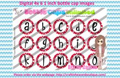 1' Bottle caps (4x6) Digital red and white polkadots alpha 1 #ALPHABET #NUMBERS #bottlecap #BCI #shrinkydinkimages #bowcenters #hairbows #bowmaking please purchase via link   http://craftinheavenboutique.com/index.php?main_page=index&cPath=323_533_42_45