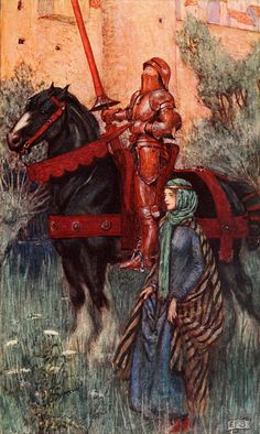 """Eleanor Fortescue-Brickdale, Idylls of the King by Alfred Lord Tennyson London, Hodder illustration for """"Enid"""", The Rusty Knight : """"Yniol's rusted arms Were on his princely person, but thro' these Princelike his bearing shone"""". Medieval Knight, Medieval Art, Alfred Lord Tennyson, Pre Raphaelite Brotherhood, Dante Gabriel Rossetti, Art Ancien, Armadura Medieval, Knight In Shining Armor, Medieval Times"""