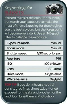 Best camera settings for sunsets (free cheat sheet) websites free, what is the golden hour, funny quotes about black and white photography, free photography lynne clark photography dslr photography classes near me time lapse photography nikon Photography Settings, Dslr Photography Tips, Photography Cheat Sheets, Photography Tips For Beginners, Photography Lessons, Photoshop Photography, Photography Tutorials, Digital Photography, Free Photography
