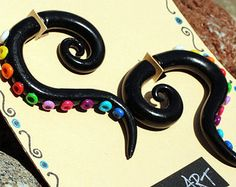 Fake gauge Earrings tribal octopus tentacle black rainbow chakra colors polymer clay trends 2014 summer festival,festival jewerly