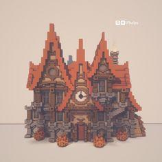 Halloween Housee🎃 : Minecraftbuilds Minecraft Steampunk, Casa Medieval Minecraft, Minecraft Mansion, Minecraft Castle, Cute Minecraft Houses, Minecraft Plans, Minecraft Survival, Amazing Minecraft, Minecraft Tutorial
