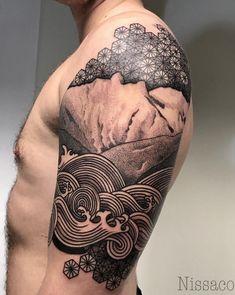 Black & Gray Geometric Marquesan Tattoo