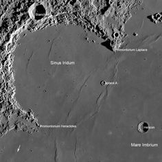 "Chang'e 3 landing site in Sinus Iridum, the Bay of Rainbows. Also labeled is the crater named for Francesco Bianchini (18th century Italian astronomers) and crater Helicon (a sacred mountain in Greek mythology). Promontories honor Pierre-Simon Laplace (18th-19 century French astronomer and mathematician) and Heraclides Ponticus (Greek astronomer 4th century BCE).  Mare Imbrium is the Sea of Showers. Mona Evans, ""The Moon - Earth's Daughter"" http://www.bellaonline.com/articles/art32833.asp"