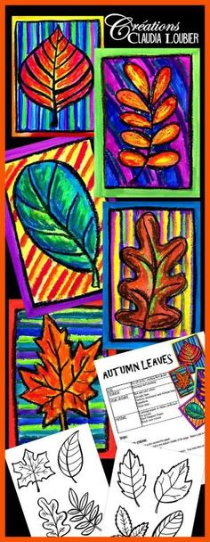 Art project about autumn leaves. For first grade and up. The students learn how to draw a leaf with warm colors. Pastel oil, tempera block paint ans black crayon. Evaluation rubric included. by brandy